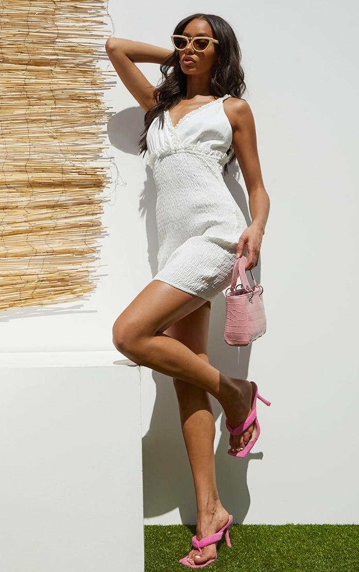 White Shirred Strappy Woven Bodycon Dress 3