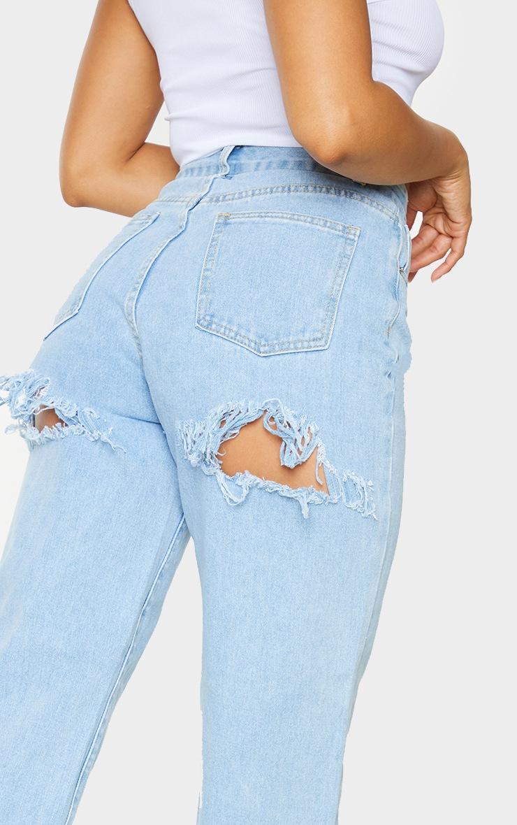 Light Wash Distressed Back Boyfriend Jeans 4