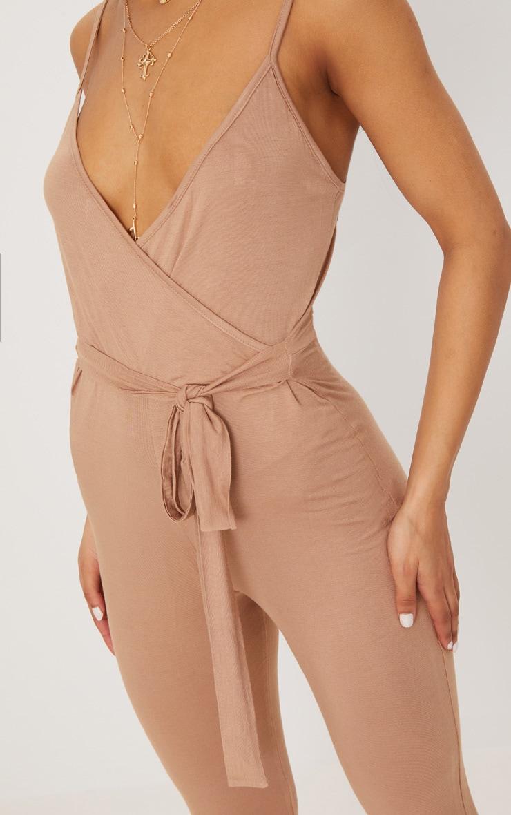 Camel Strappy Jersey Wrap Tie Waist Jumpsuit 5
