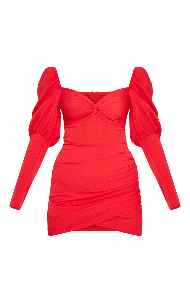 Red Puff Sleeve Twist Detail Bodycon Dress 3