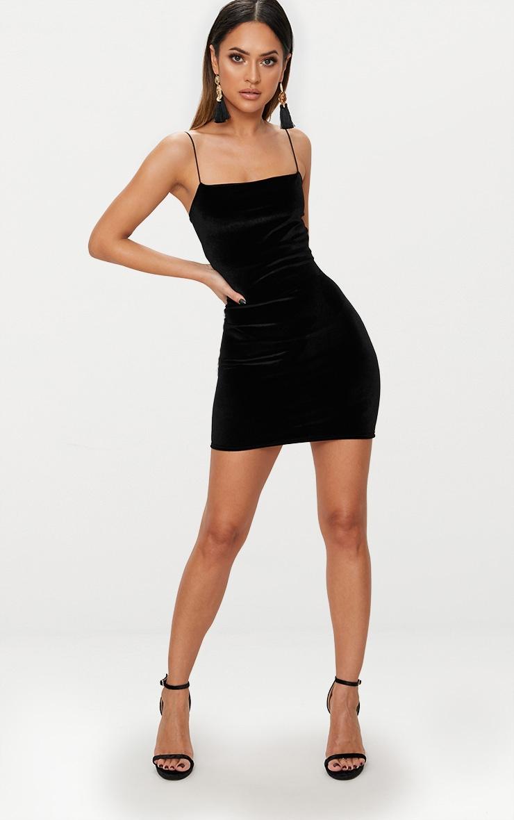 Black Velvet Straight Neck Bodycon Dress 4