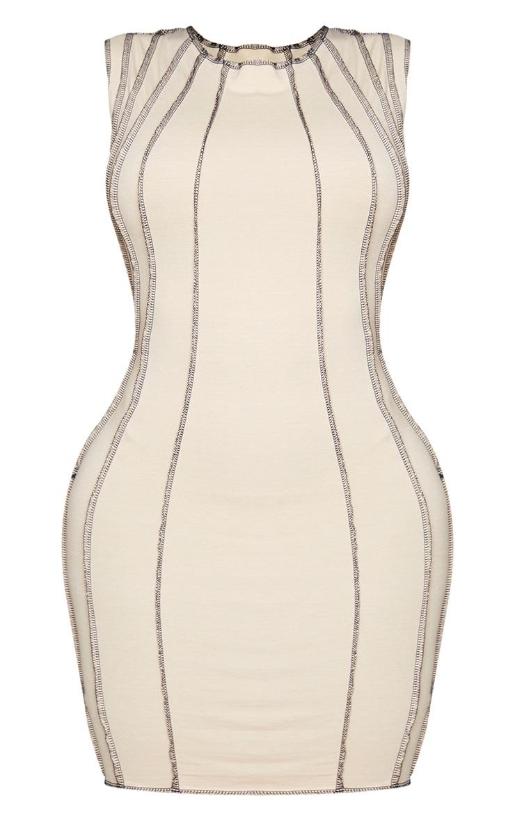 Shape Stone Contrast Seam Detail Sleeveless Bodycon Dress 5