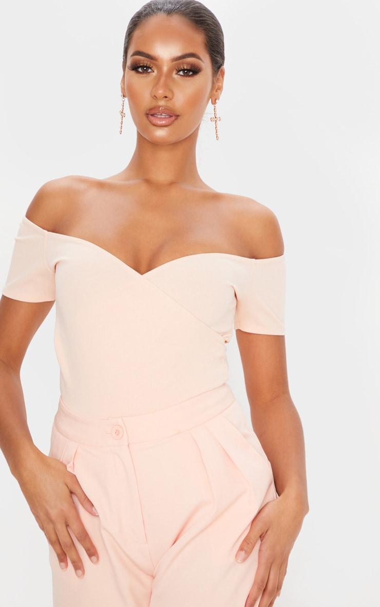 Blush Crepe Bardot Wrap Bodysuit 2