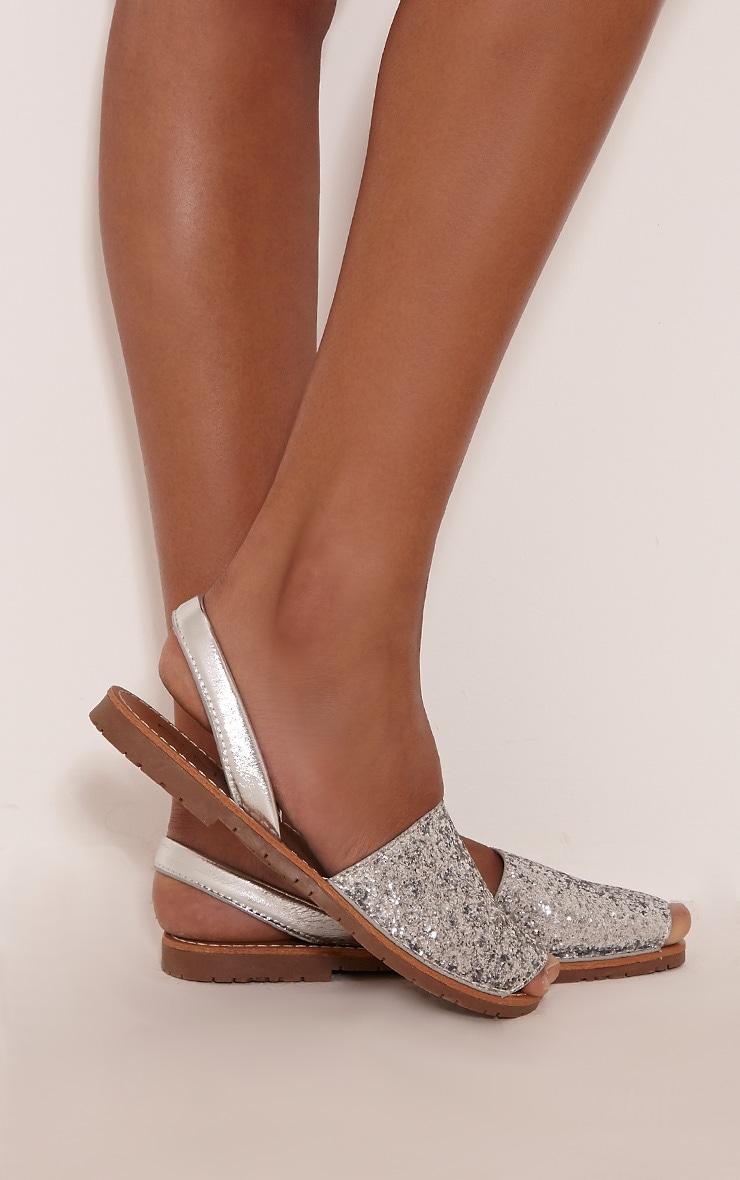 Luciana Silver Glitter Sandals 2