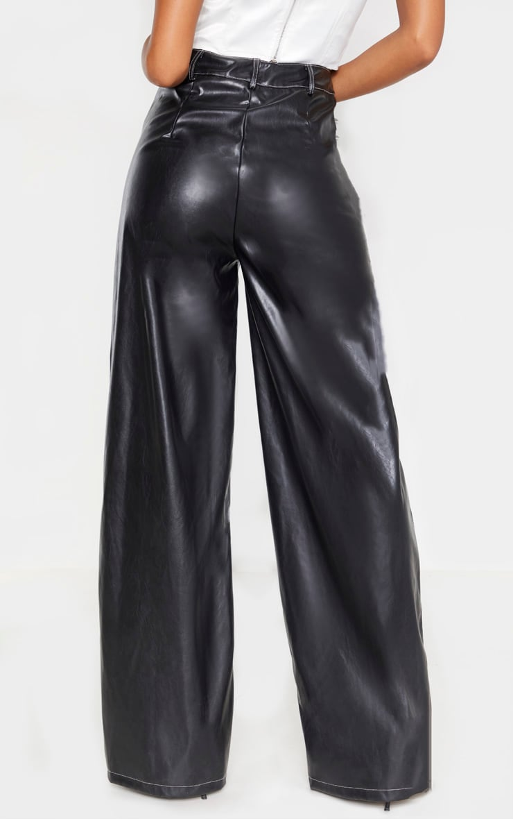 Black Faux Leather Contrast Stitch Wide Leg Pants  4