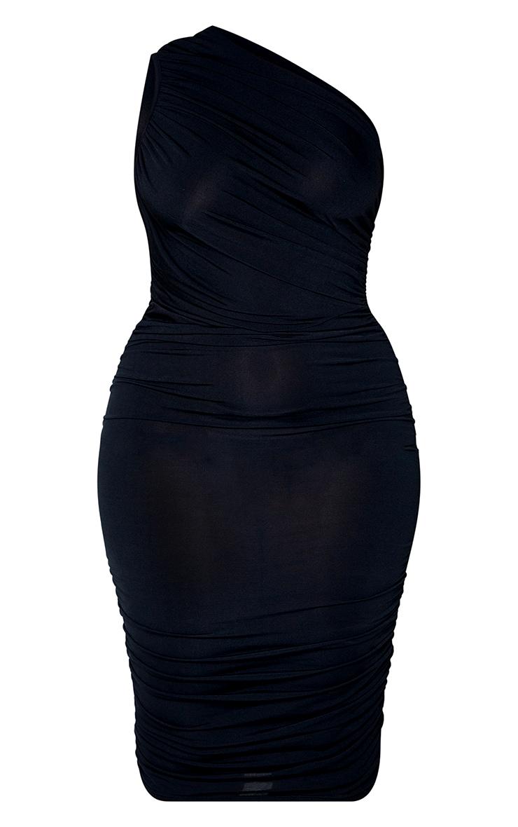 Plus Black Slinky Ruched One Shoulder Longline Midi Dress 5