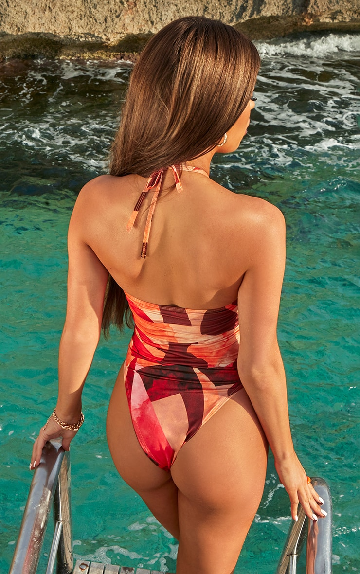 Orange Abstract Print Bandeau Chain Cut Out Swimsuit 3
