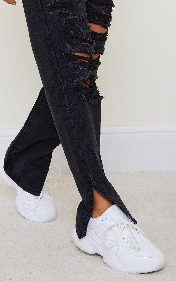 Petite Black Full Distressed Split Hem Denim Jeans 4