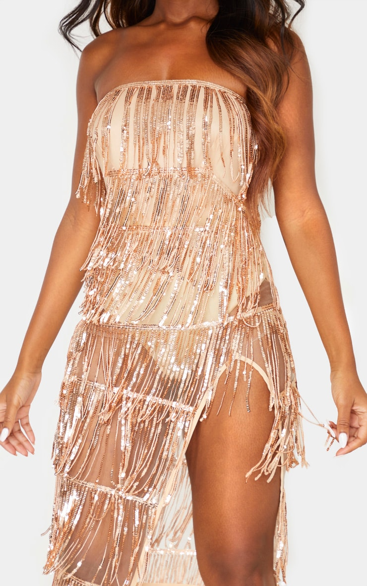 Rose Gold Bandeau Tassel Sequin Sheer Skirt Midi Dress 5