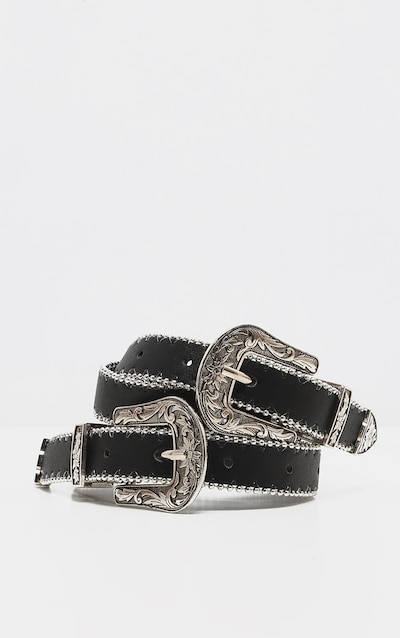 Black Skinny Silver Double Western Belt