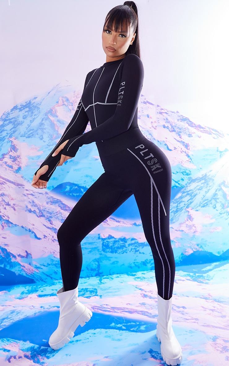 Black Seamless Ski Long Sleeve Bodysuit 4