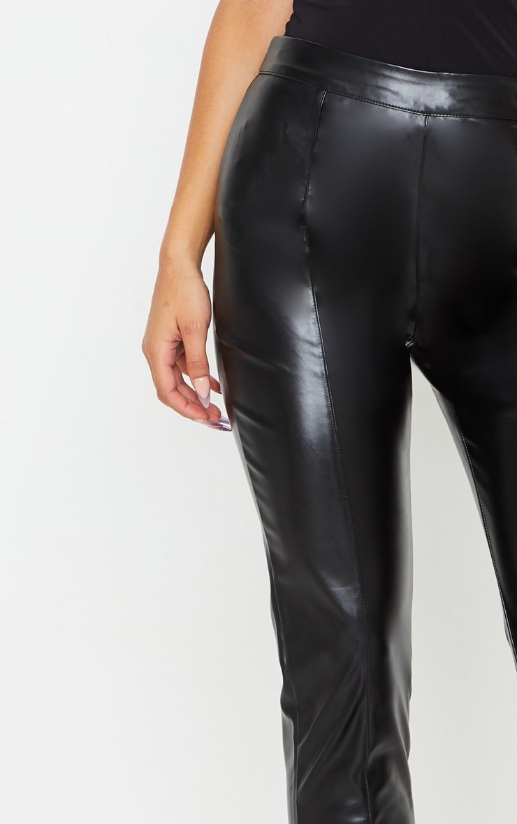 Daysha Black Cropped Faux Leather Pants 4