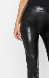 Daysha Black Cropped Faux Leather Trousers 4