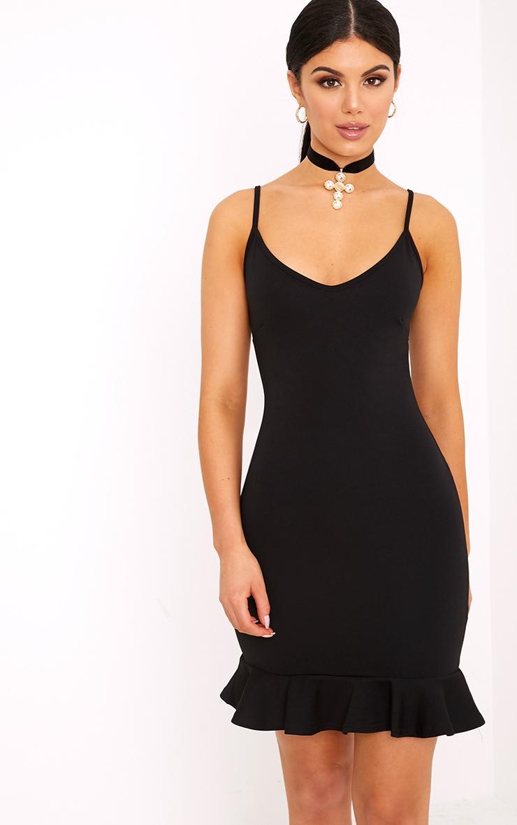 Essie Black Strappy Frill Hem Bodycon Dress 1