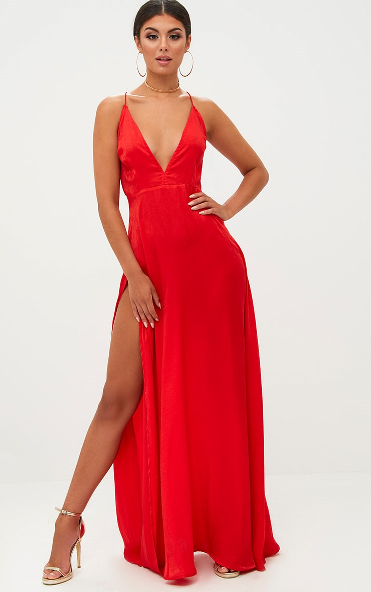 Red Extreme Split Strappy Back Maxi Dress 1