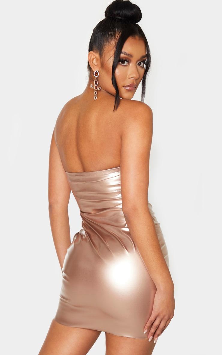 Rose Gold Metallic Bandeau Bodycon Dress 2