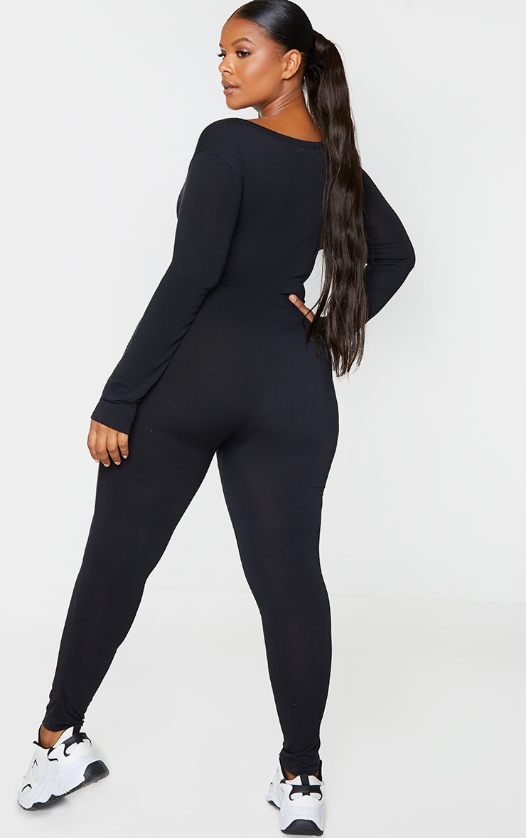 RECYCLED Plus Black V Neck Long Sleeve Jumpsuit 2