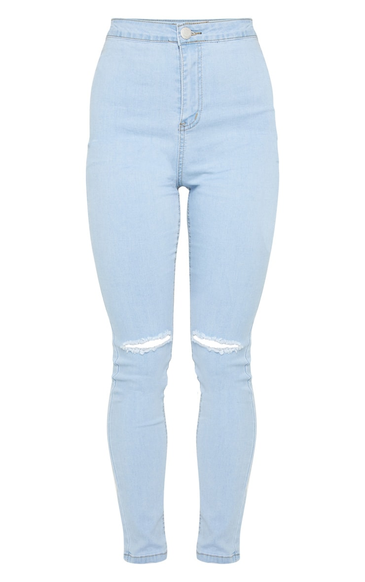 Light Wash Knee Rip Disco Skinny Jean 3