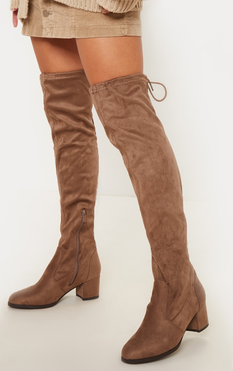 Taupe Faux Suede Block Heel Thigh Boot 1