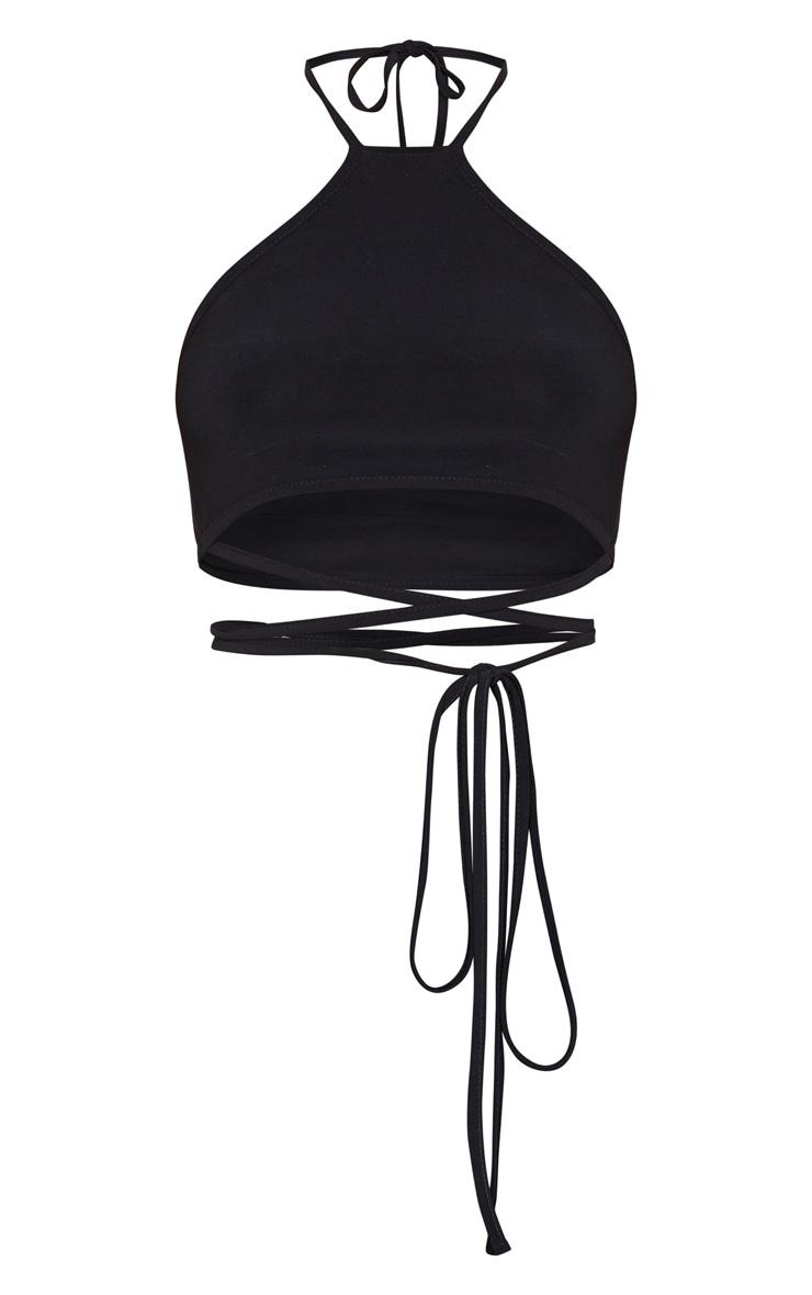 Black Slinky Halterneck Tie Waist Crop Top 3