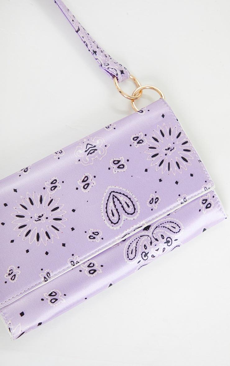 Lilac Scarf Print Shoulder Bag 3