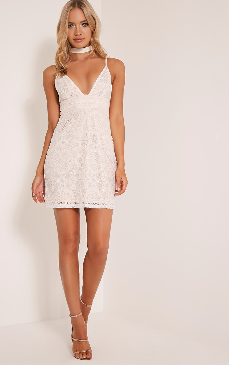 Leah White Lace Strappy Bodycon Dress 5