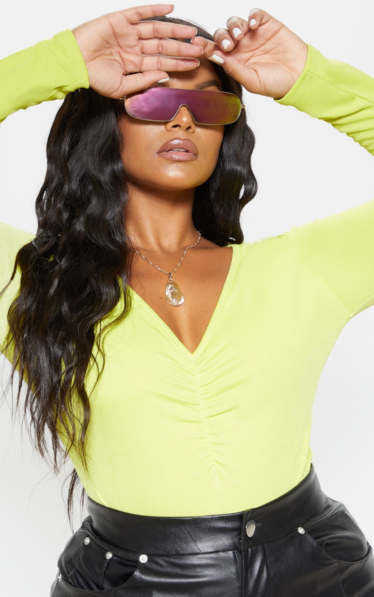 Plus Neon Lime Jersey Ruched Front Bodysuit  6