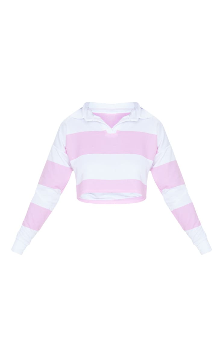 Baby Pink Stripe Collar Polo Long Sleeve Crop Top 5