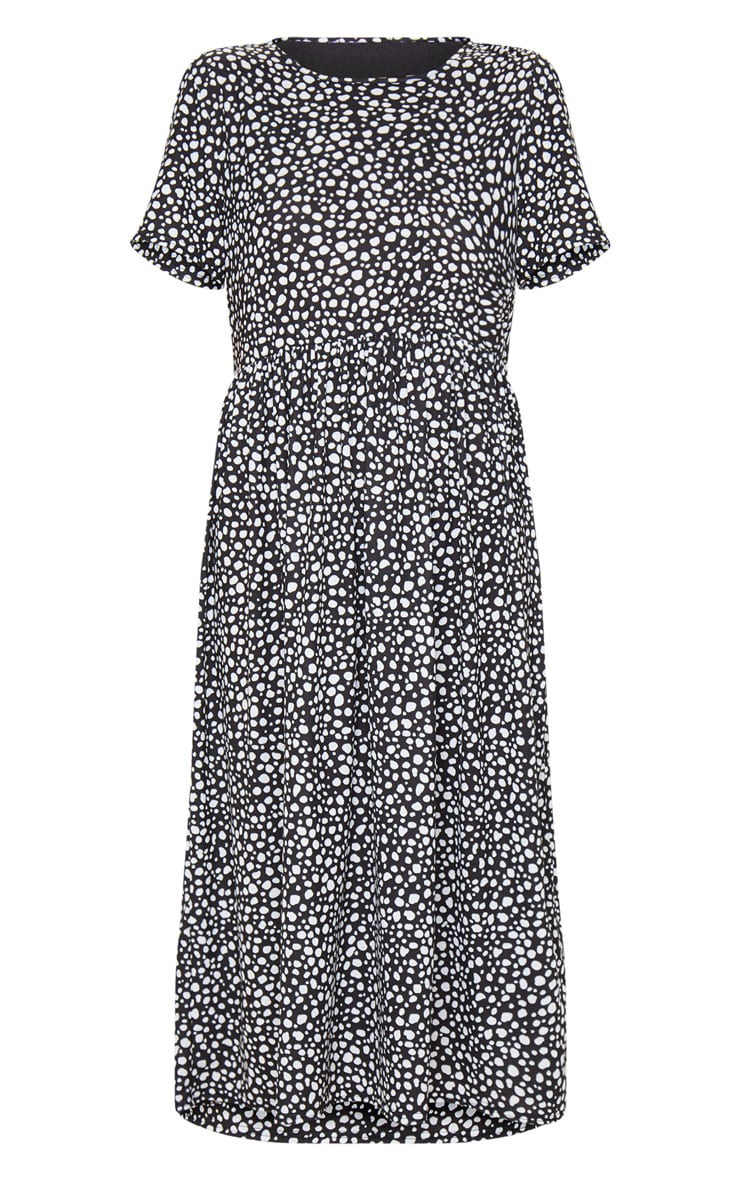 Black Dalmatian Print Short Sleeve Midi Smock Dress 3