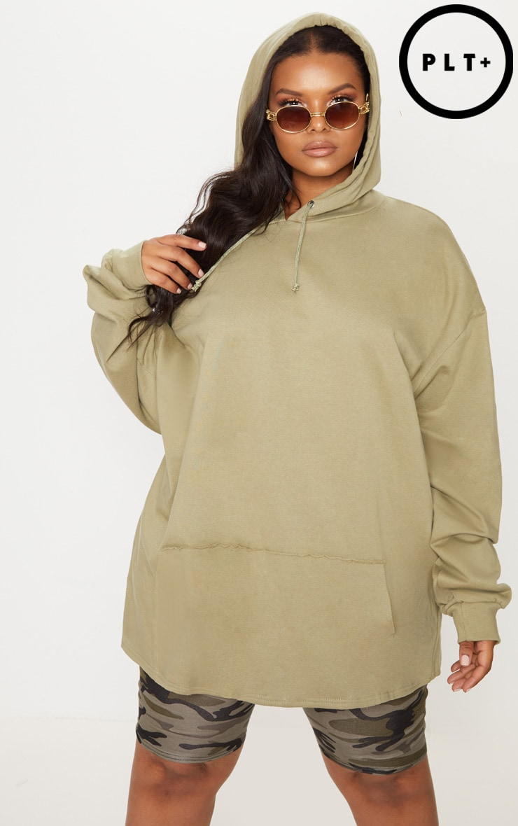 Plus Sage Green Oversized Hoodie 1