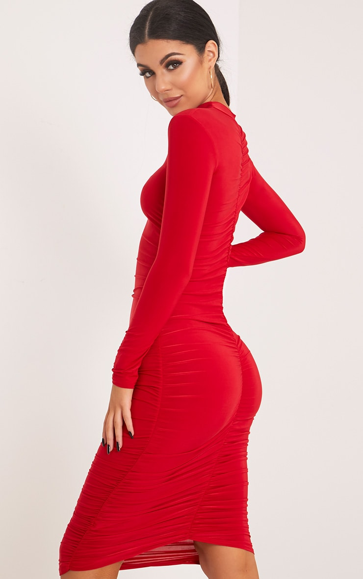 Niyah Red Slinky Ruched Midi Dress 1