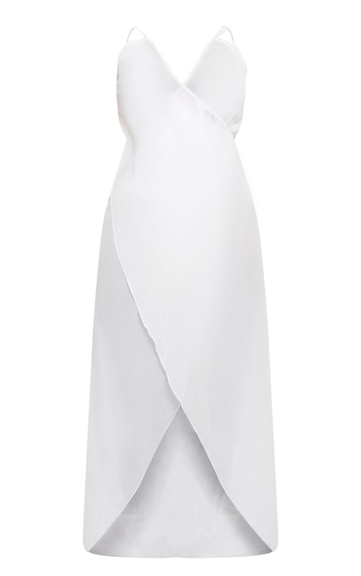 Plus White Wrap Detail Chiffon Beach Cover Up Dress 3
