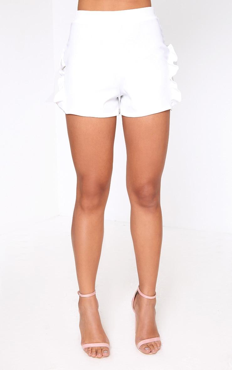 White Lace Insert Frill Shorts 2