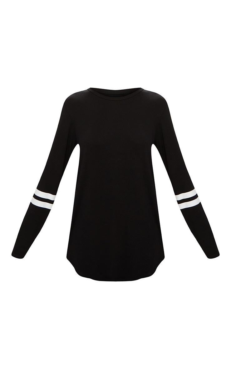 Basic Black Sport Stripe Sleeve Long Sleeve Top 3