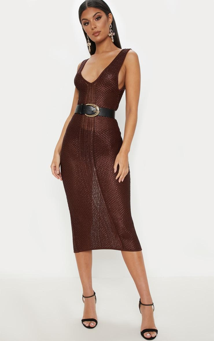 d915f629d157 Brown Metallic Knit Bodycon Midi Dress image 1