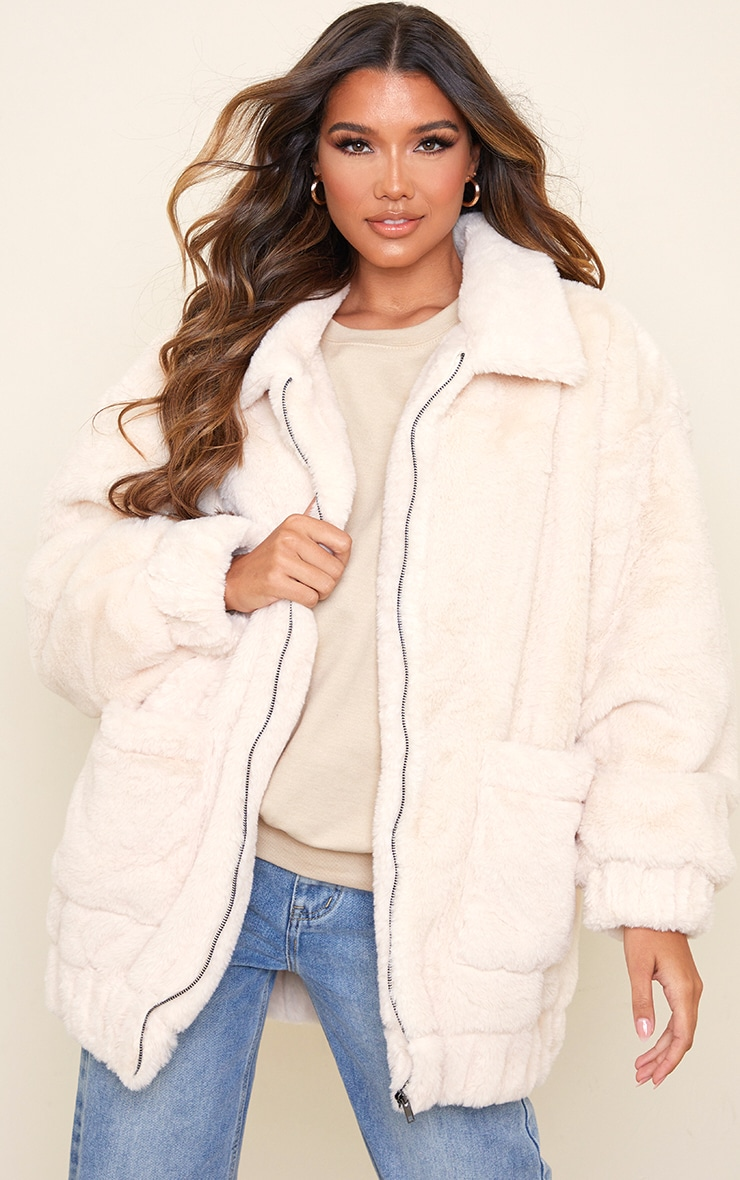 Cream Faux Fur Pocket Front Coat 1
