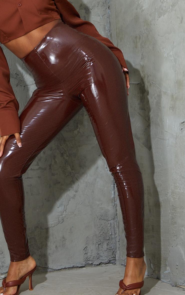 Chocolate Vinyl High Waisted Skinny Trousers 4