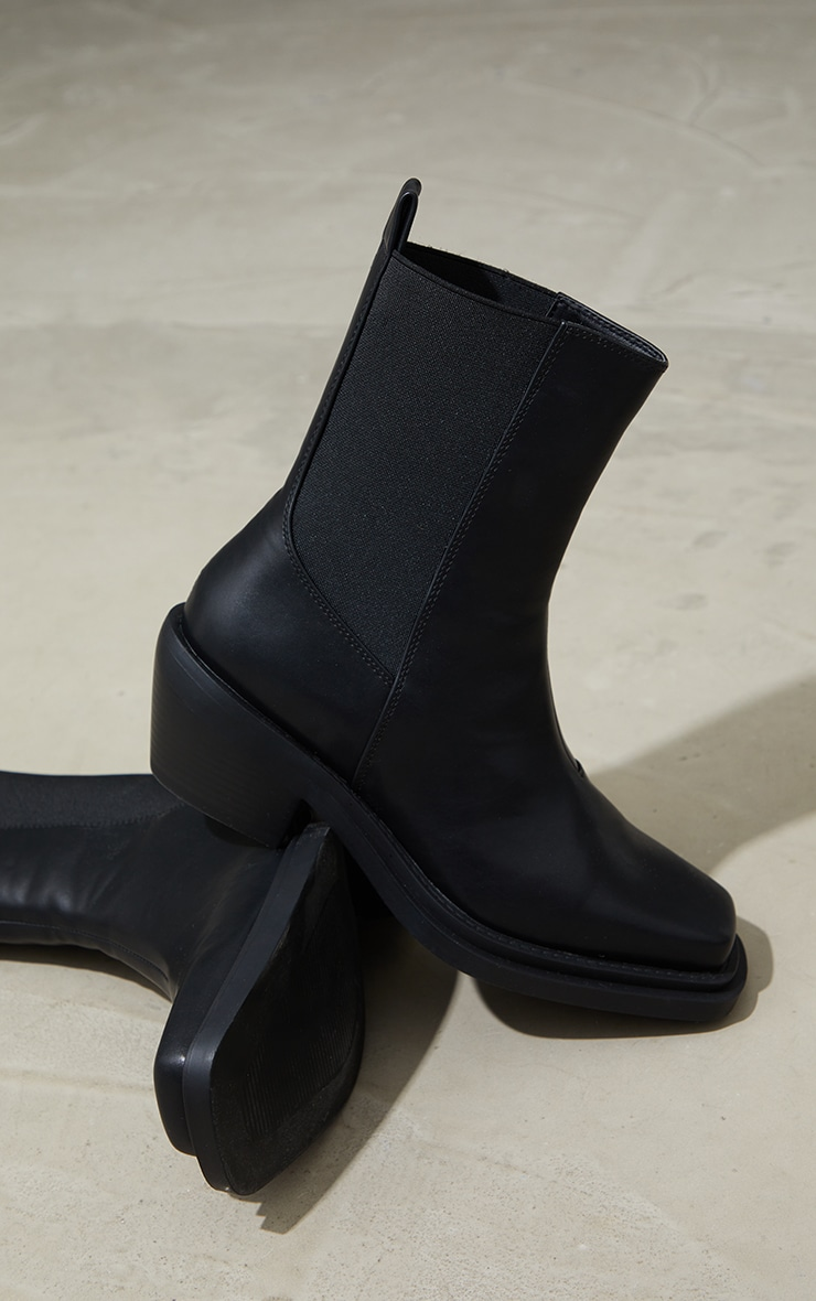 Black PU Extreme Square Toe Western Boots 4