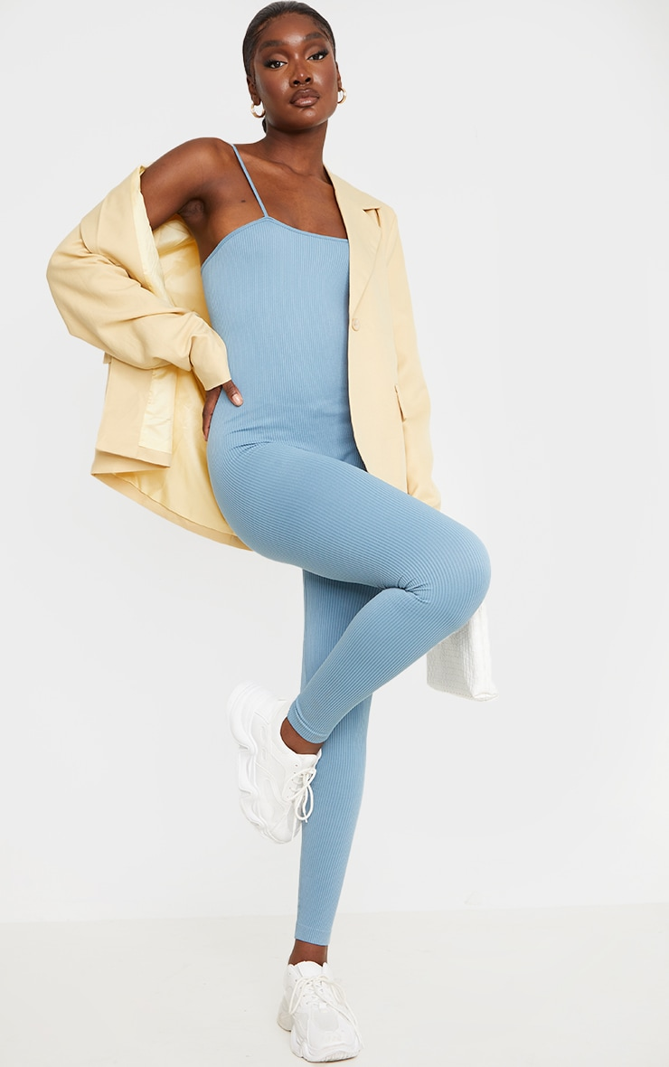Tall Blue Strappy Contour Ribbed Jumpsuit 1
