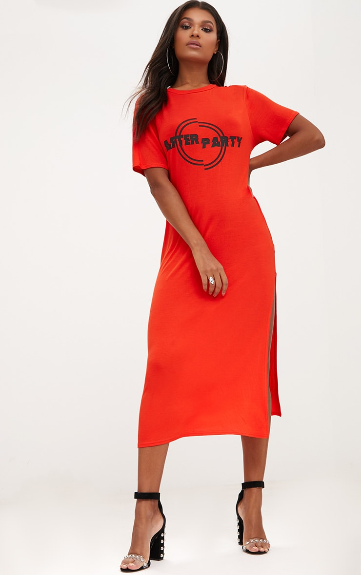 Orange After Party Midaxi T Shirt Dress 1
