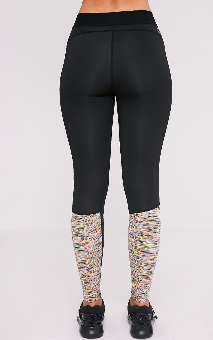 Sindie  Mutli Coloured Marl Panelled Gym Leggings 5