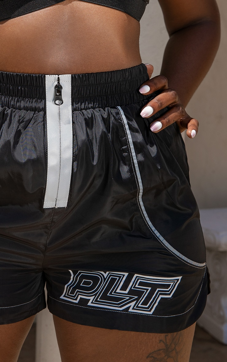 PRETTYLITTLETHING Black Zip Detail Shell Shorts 6