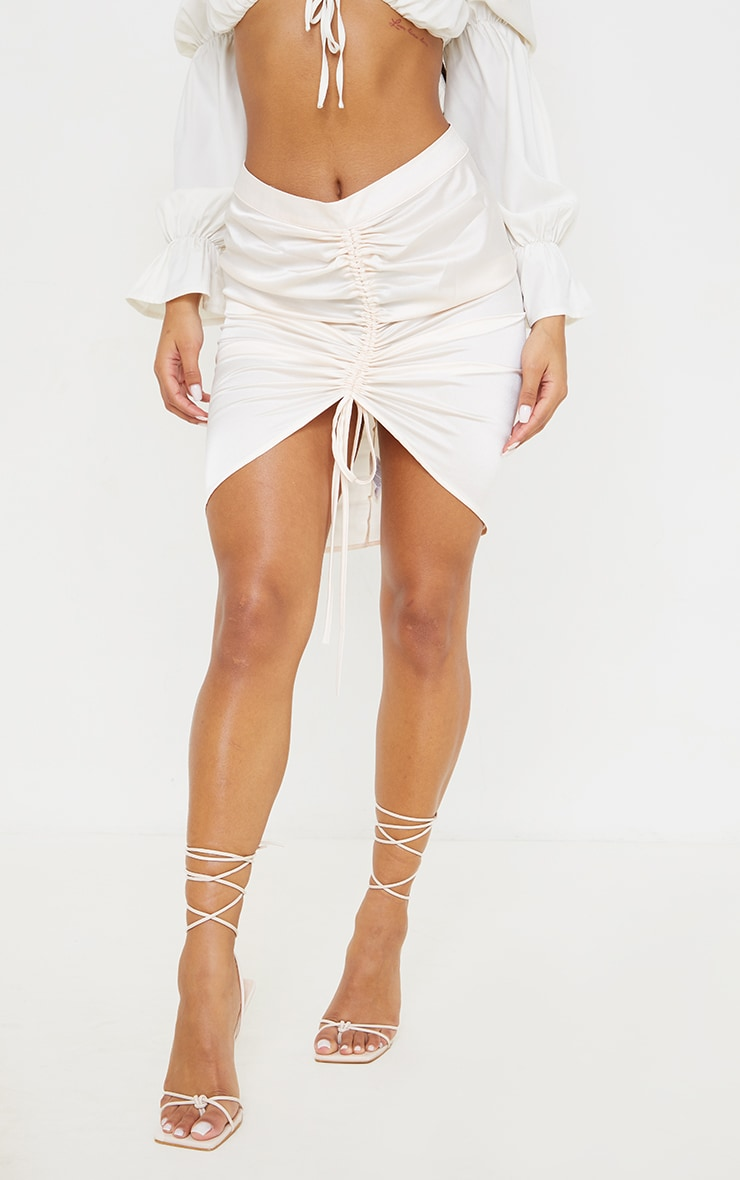 Cream Ruched Front Mini Skirt 2