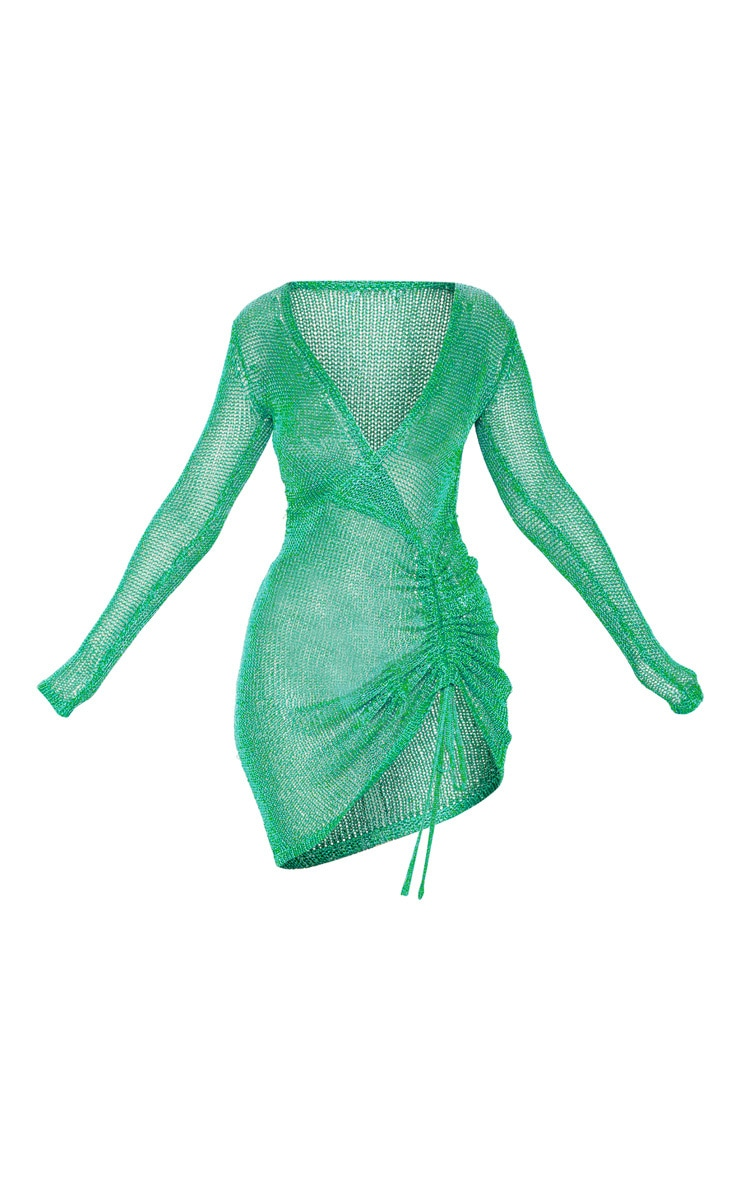 Green Metallic Knitted Wrap Front Dress 3