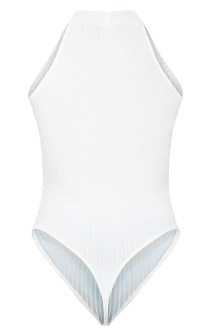 White High Neck Rib Sleeveless Bodysuit 4