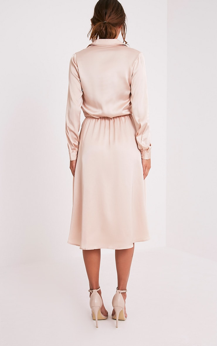 Gabbie Champagne Silky Wrap Over Midi Dress 2