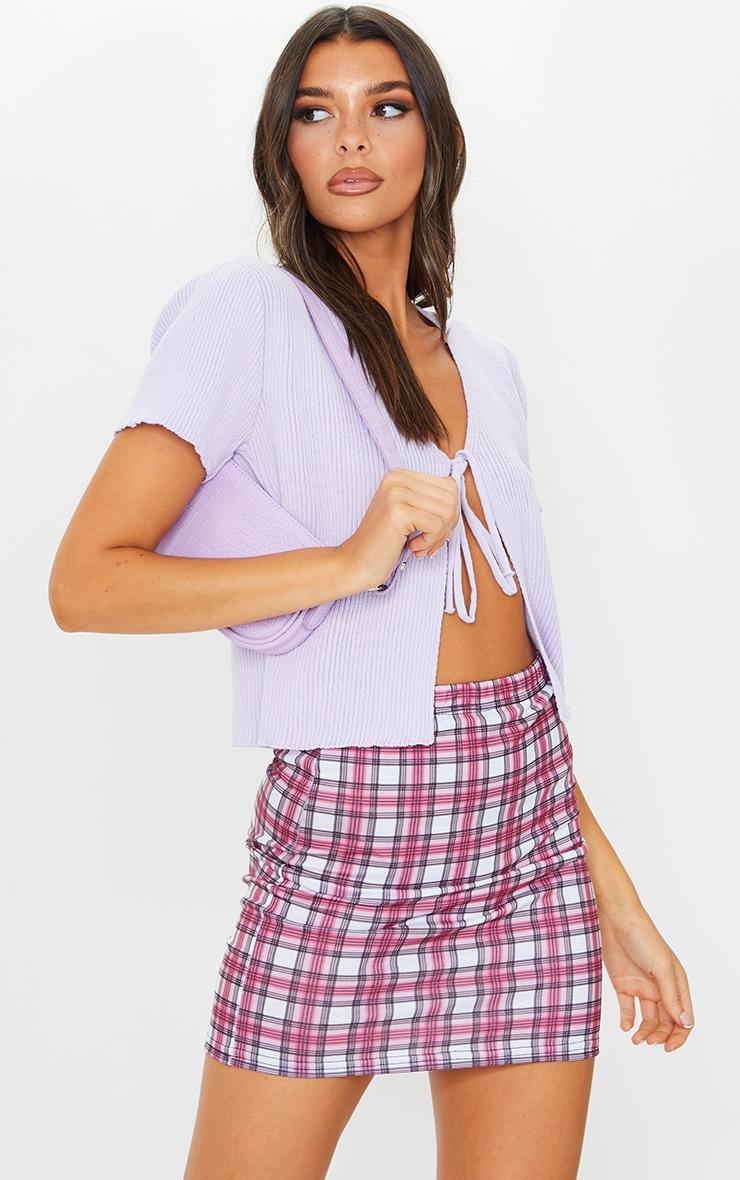 Mini-jupe rose à carreaux 4