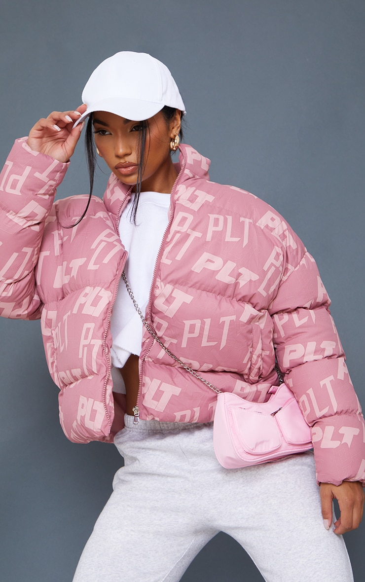 PRETTYLITTLETHING Pink Mix Print Puffer 1