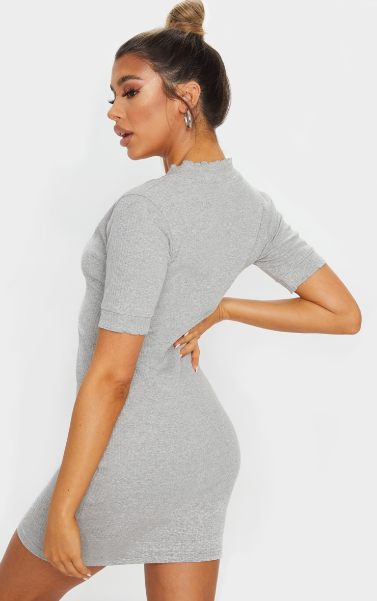 Grey Thick Rib Popper Frill Edge Bodycon Dress 2