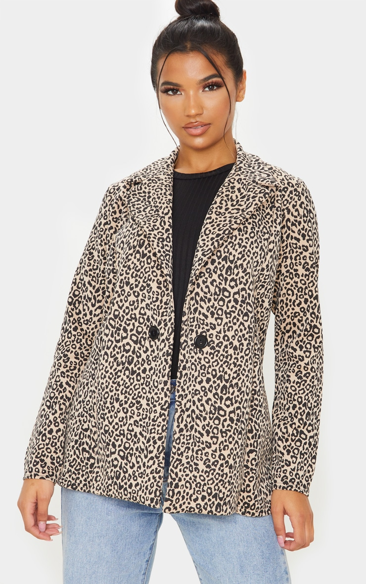 Brown Leopard Boyfriend Blazer 1
